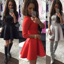 2018 Spring Autumn New Fashion Women Half-Sleeve A-Line Dress Solid Pleated Sexy Ladies Evening Party Bodycon Mini Vestidos