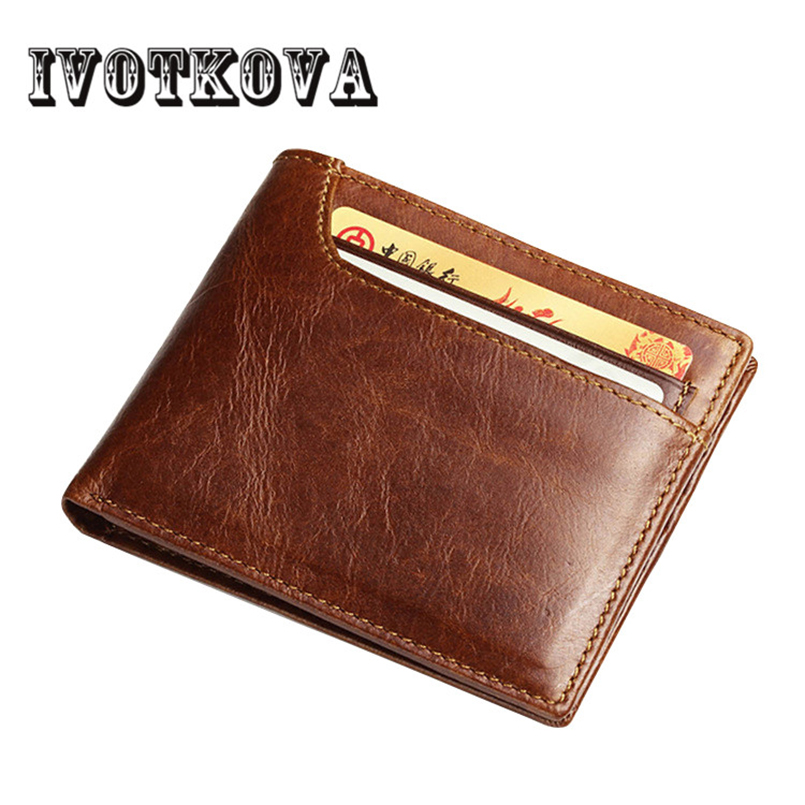 IVOTKOVA Genuine Leather Men Wallets Fashion Male Short Money Bags Boy Carteira Masculina Men's Bag New 2018 Drop Shipping brand double zipper genuine leather men wallets with phone bag vintage long clutch male purses large capacity new men s wallets