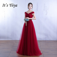 Free Shipping Pregnancy Pink Wine Red Floor Length Prom Dresses Tulle Boat Neck Women Party Gowns