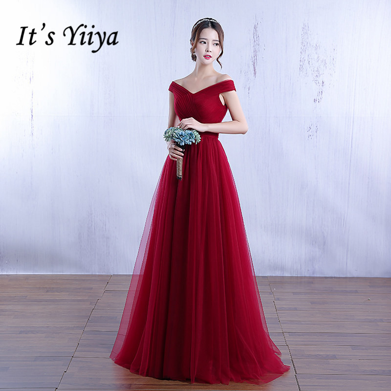 Free Shipping Pregnancy Pink Wine Red Floor Length Prom Dresses Tulle Boat Neck Women Party Gowns 2019 Summer Custom Made YA003