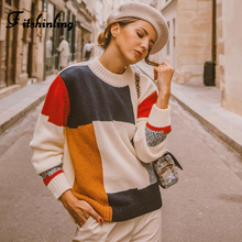 Fitshinling Korean Style Sweaters Women Winter 2019 Block Patchwork Pull Femme Long Sleeve Knited Jumper Female Jumper Autumn bell sleeve jumper