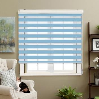 Adjustable Sunlight Home Sky Blue Valance Dual Roller Blinds Zebra Blinds Customized Blinds