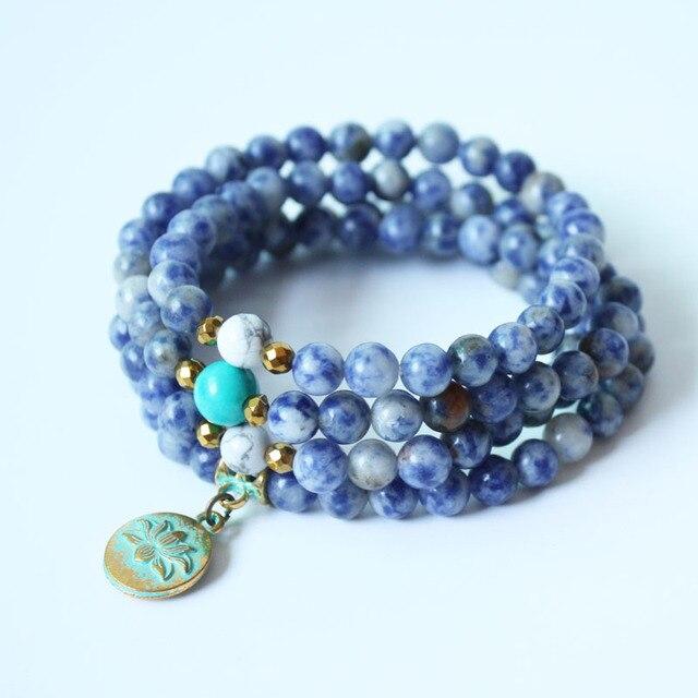 Модные Йога Jewelry Природные содалит 108 мала Бусины с lotus Цепочки и ожерелья пряди эластичный браслет для женщин