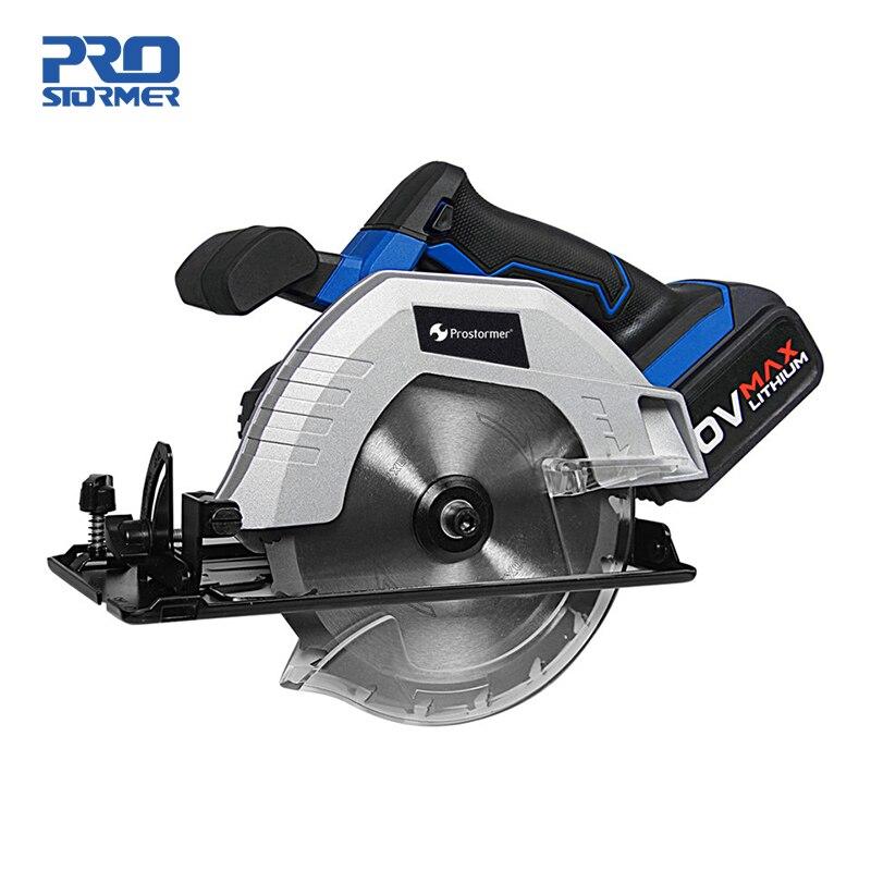 Prostormer 20 V inalámbrico sierra Circular 165mm eléctrico Mini carpintería sierra Circular 4000 mAh batería de iones de litio 100-220 V cargador rápido