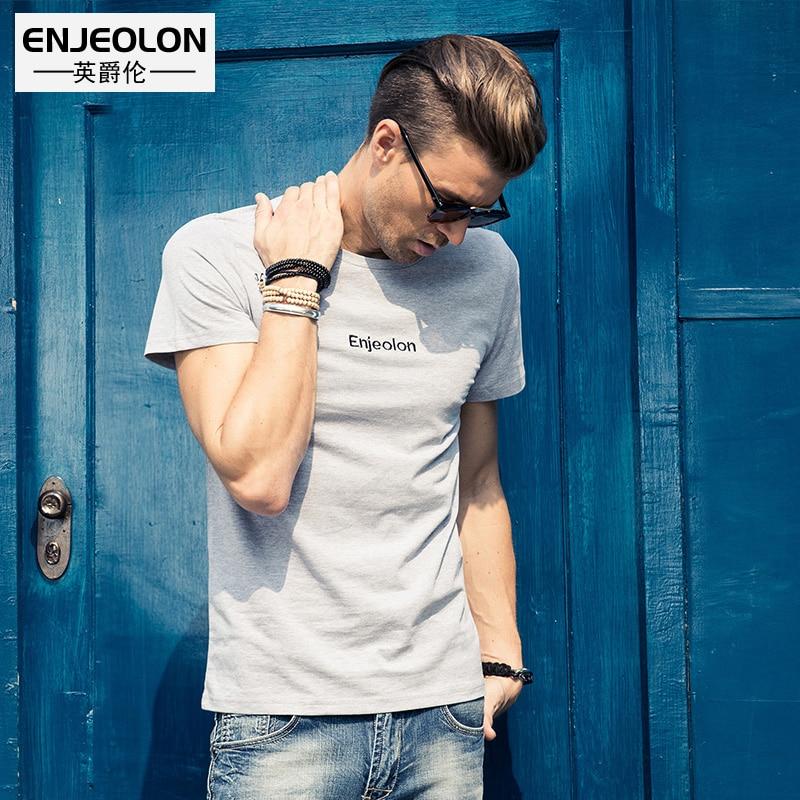Enjeolon Marke Sommer Kurzarm Print T-Shirt Männer, Baumwolle - Herrenbekleidung