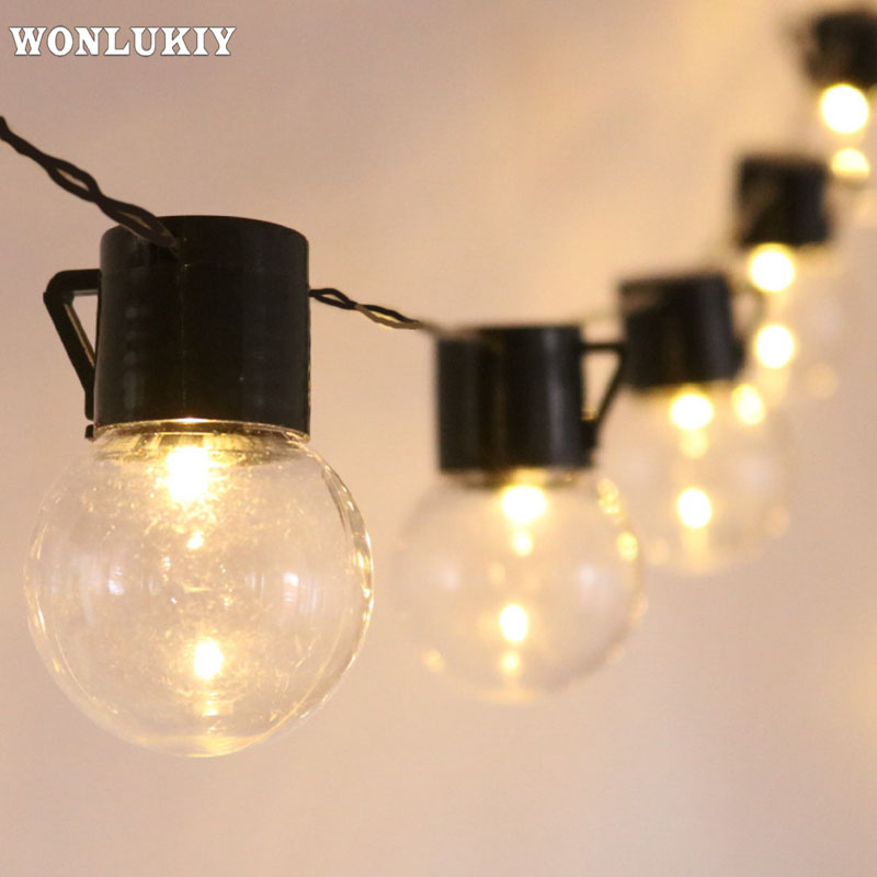 2.5M/5M/10M Outdoor Lighting 5cm Big Size <font><b>LED</b></font> Ball String Lamp <font><b>10</b></font>/20/38 <font><b>Leds</b></font> Christmas <font><b>Lights</b></font> <font><b>Fairy</b></font> Party Wedding Garden Garland image
