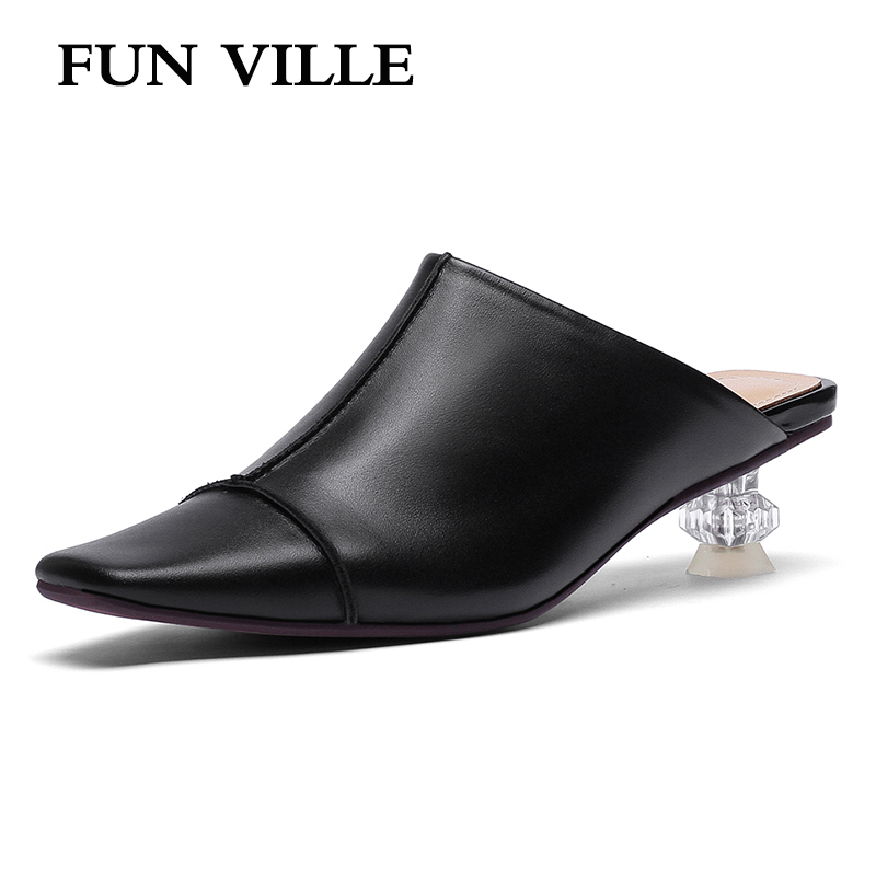 FUN VILLE Summer New Fashion Women Slippers Med Heels British Style Genuine Leather Strange Style Heel