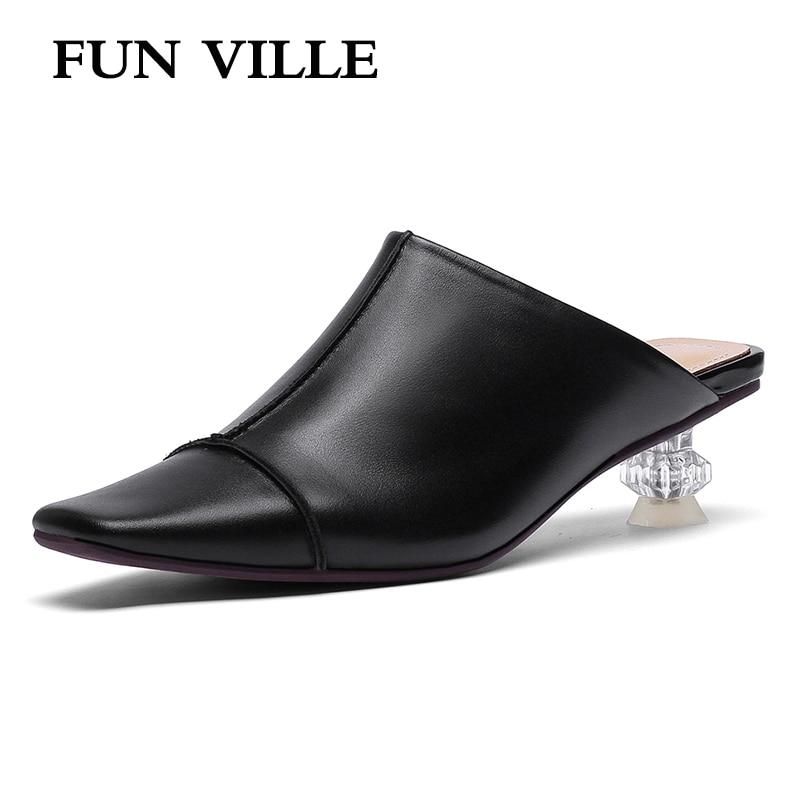 متعة فيل الصيف جديد أزياء النساء النعال ميد الكعوب البريطانية نمط جلد طبيعي أسلوب غريب كعب مثير أحذية السيدات-في شباشب من أحذية على  مجموعة 1