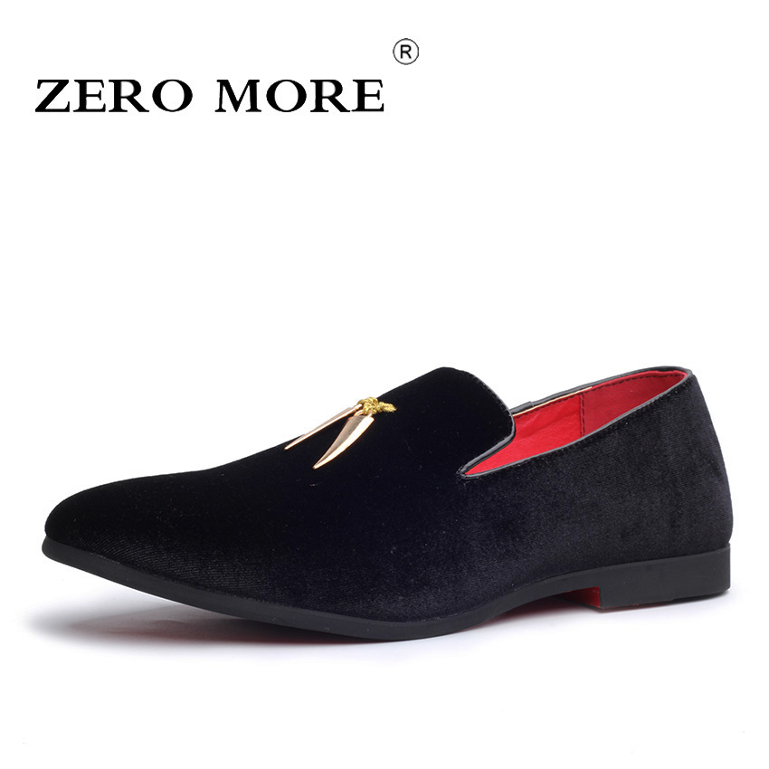 ZERO MORE Mens Shoes Large Size Shoes Spring Casual Sickle Flock Mens Designer Shoes For Men Pointed Toe Loafers 2018 Slip On