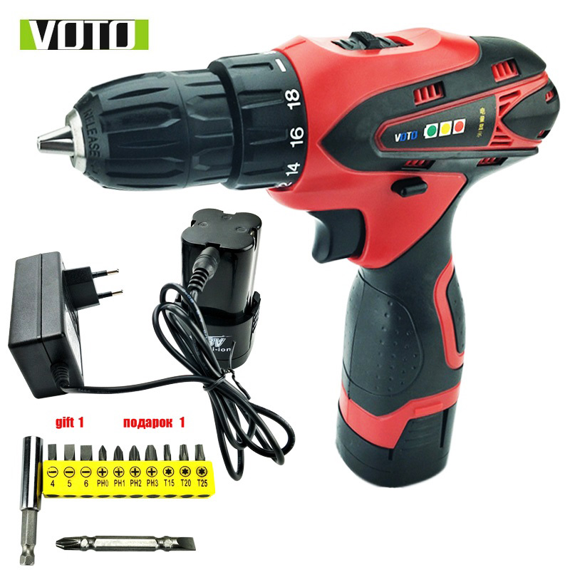 16.8V VOTO electric Drill Screwdriver Power Tools Carbon Mini Drill double speed lithium 2batterries Cordless battery drill