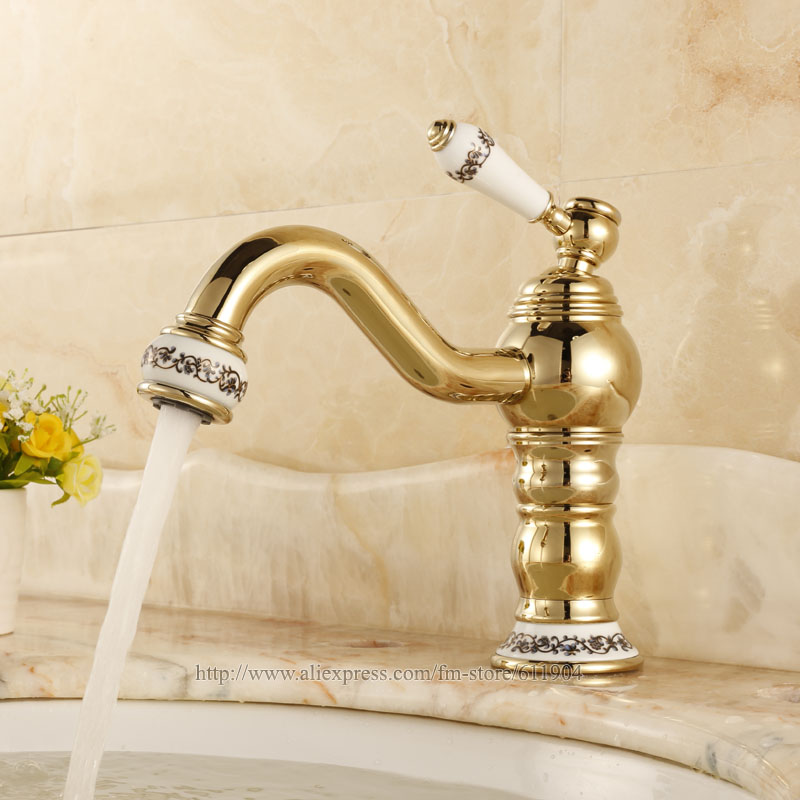 Chinese Ceramic Style Gold Color Brass Bathroom Faucet Basin Faucets Lavatory Sink Mixer Tap Single Handle Cold Hot Water Faucet single handle white ceramic bathroom faucet single hole wash basin faucets bathroom tap chorm brass water faucet for bathroom