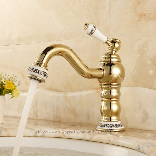 Chinese Ceramic Style Gold Color Brass Bathroom Faucet Basin ...