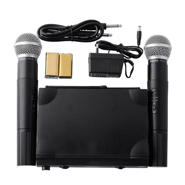 Hot UHF UT4 Type Dual Wireless Microphone Mic System Cordless +2 MIC Audio Karaoke Party KTV DJ Black