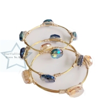 Western Style Women Oval Shape Glass Crystal Gold Copper Wire Wrapped Bangle Jewelry Bracelets