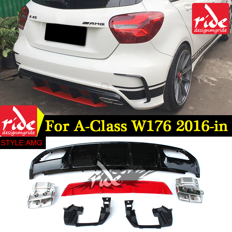 Abs A45 Amg Diffuser 304 Stainless Steel 4outlet Exhaust Tip Fits Mercedes W176: A45 Amg Exhaust At Woreks.co
