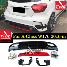 ABS A45 AMG Diffuser + 304 Stainless Steel 4-Outlet Exhaust Tip Fits Mercedes W176 2016-in Sport Edition A Class A180 A200 A250