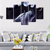 Hot Selling 5 Panels Evening Wolf Printed Canvas Painting Living Room Wall Art Animal Pictures No