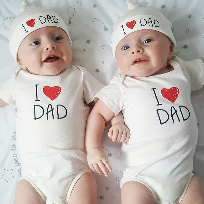 2018 summer Newborn Baby Girl Boy Clothes i love mun and i love dad Outfits Set Baby Bodysuit +Hat 2pcs/ set Twins gift 2pcs set baby clothes set boy