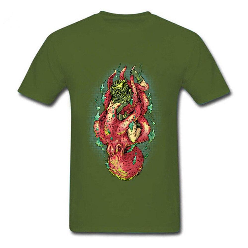 Футболка мужская с круглым вырезом, модная классическая смешная рубашка с подводным плаванием, для выживания в глубоком море, дайвинга, ось...