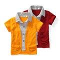 Niños blusas 2015 camisetas de los bebés de 18 M - 4 T manga corta falso de dos piezas de la solapa camisas para niños ropa niños envío gratis