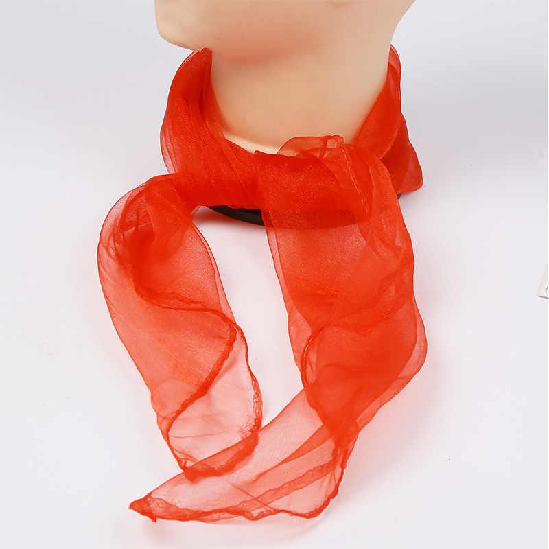 Caliente 60cm * 60cm niños chifón cuadrado bufandas espectáculo de danza bufanda color caramelo mujer bufanda chal hijab