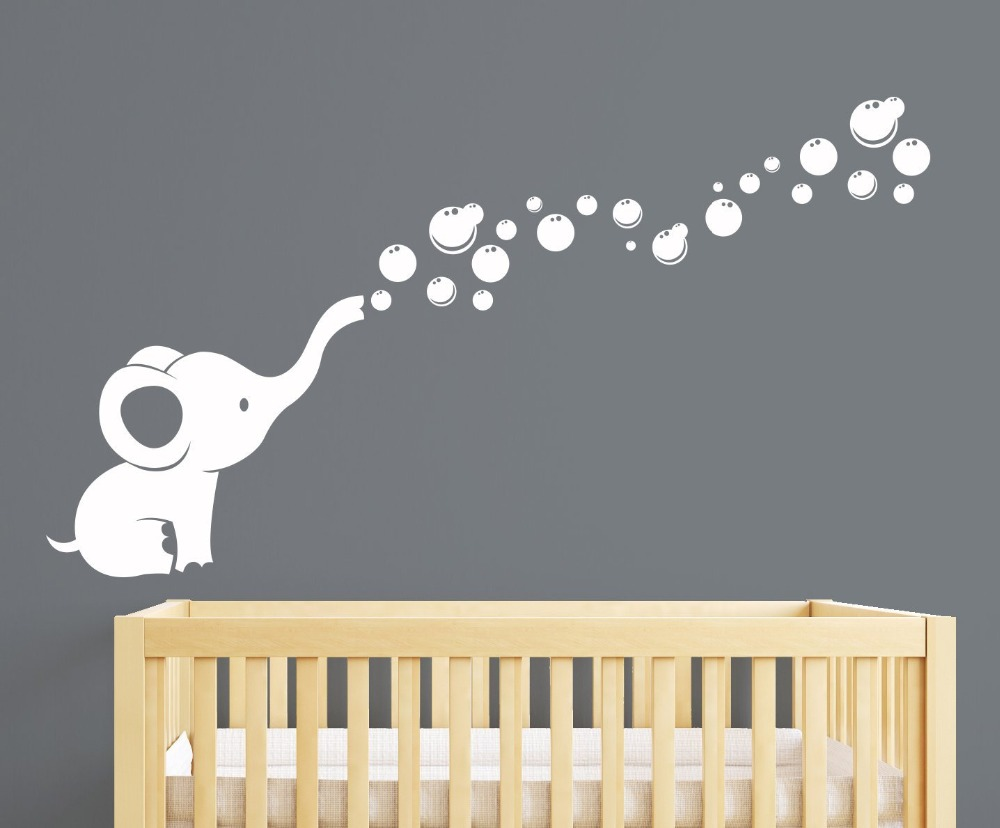 Us 12 31 23 Off Elephant Bubbles Nursery Wall Decal Room Decor White In Stickers From Home Garden On Aliexpress