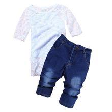 Girls Denim Clothing Sets Children Casual Summer Short Sleeve + Cotton Sling Top + Denim Trousers Suit Set Sell 2T