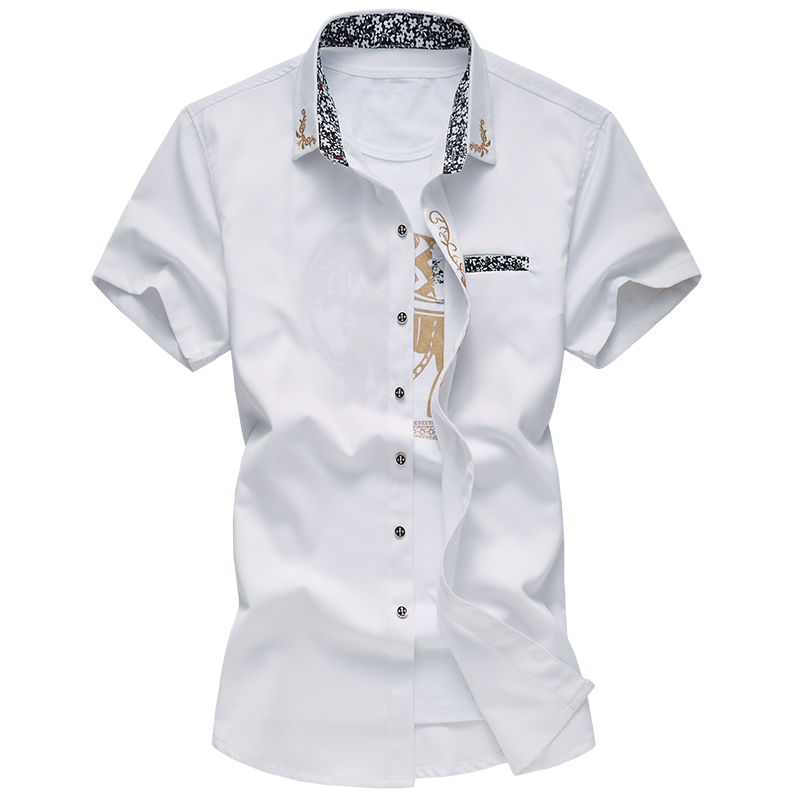 2017 new summer style high quality fashion leisure slim solid color embroidery men's short sleeved shirt large size M-6XL