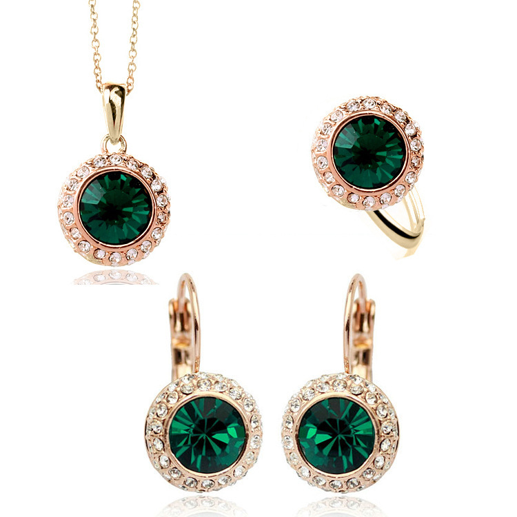 UK Girl UK Girl GP Moon River Crystal Jewelry Sets for women with ring pendant necklace earring