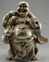 Fast shipping Collectible Decorated Old Tibet Silver Buddha Carry Gold Bag Bring Money Statue