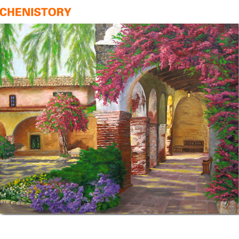 Chenistory Flower Gardan Modern Art Picture Diy Painting By