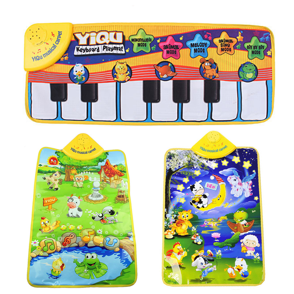 Music Mat Children Game Blanket Colour Kids Baby Animal Piano Musical Touch Playmat Singing Gym Carpet Gift Play 4 DropShipping