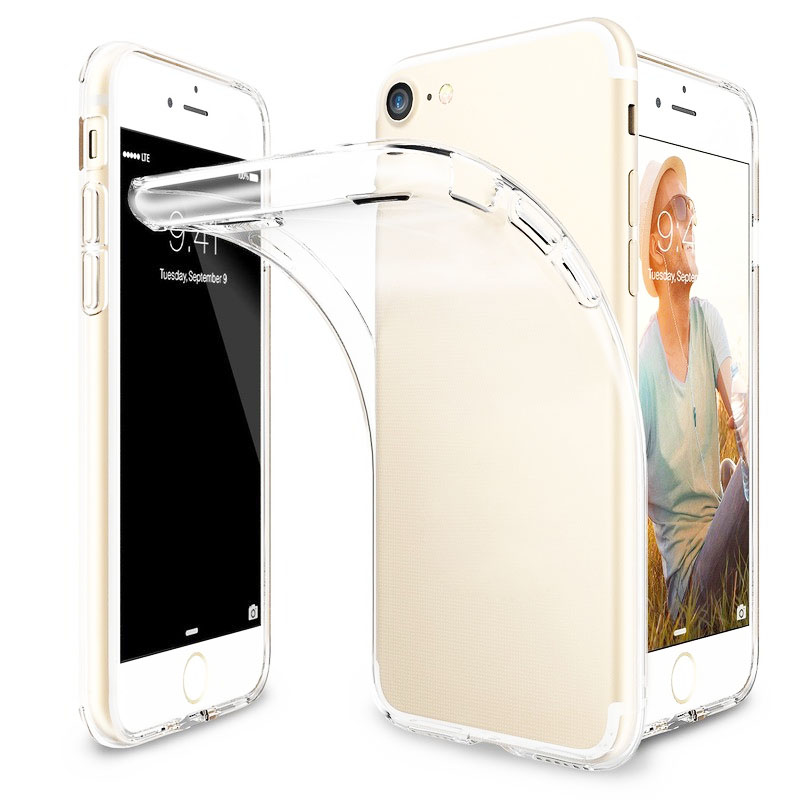 For Apple iPhone 7 7plus 6 6S Plus Clear Covers Transparent Crystal Soft TPU Silicone Gel Fundas Etui Cover Phone Case
