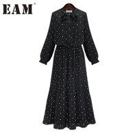 [EAM] 2018ใหม่ฤดูใบไม้ผลิรอบคอแขนยาวสีดำทึบชีฟองdotหลวมขนาดใหญ่ชุดผู้หญิงแฟชั่นน้ำJA23601M
