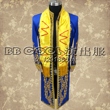 mens stage performance red/blue golden embroidery tuxedo long jacket with scraf stage wear/singing/bar/event ,only jacket