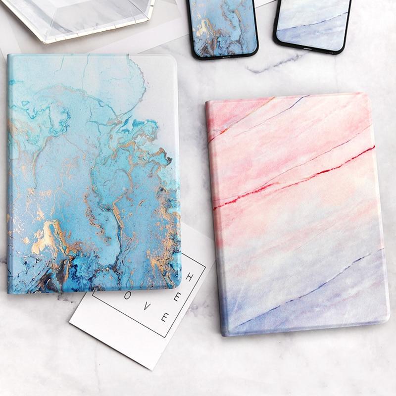 For iPad 9.7 2019 2019 Case A1893 Silicone Soft Back Marble PU Leather Smart Cover for iPad Air 2 1 Pro 10.5 Mini 1 2 3 4 Funda