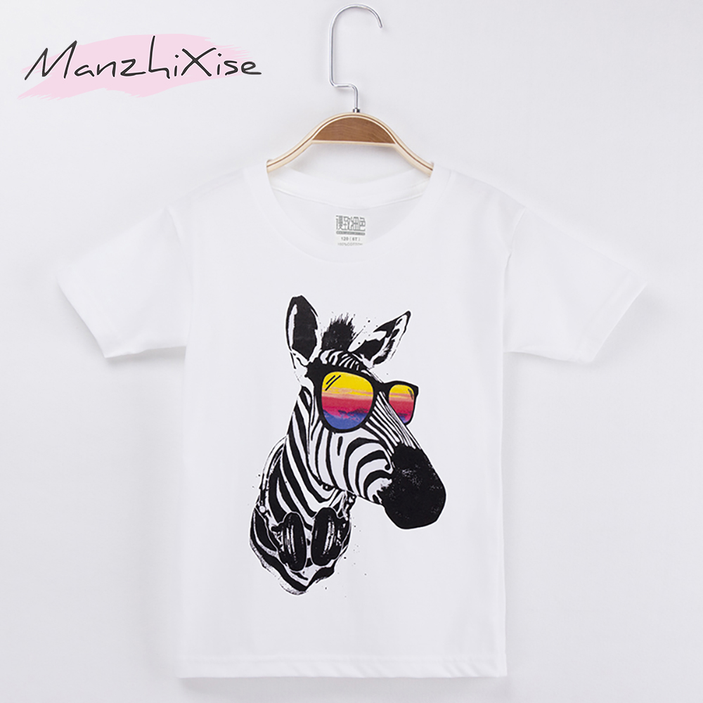 2018 Kids Clothes Chidren T-shirt Zebra Wear Glasses 100% Cotton White Chid Girl Short T Shirts Baby Boys Top Unisex Size 4-12T
