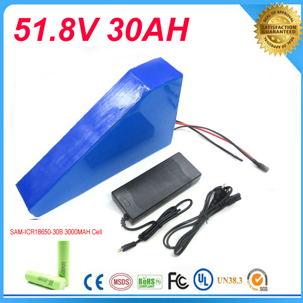 Triangle style Ebike Battery 51.8v 30Ah 1500W Electric Bike Battery  with BMS Lithium Battery 52V Battery Pack  For Samsung cell