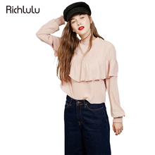 RichLuLu Fashion Cute Blouse Women Brief Pink Ruffles Blouse Shirt Long Sleeve O-Neck Female Street Casual Fitness Blusas