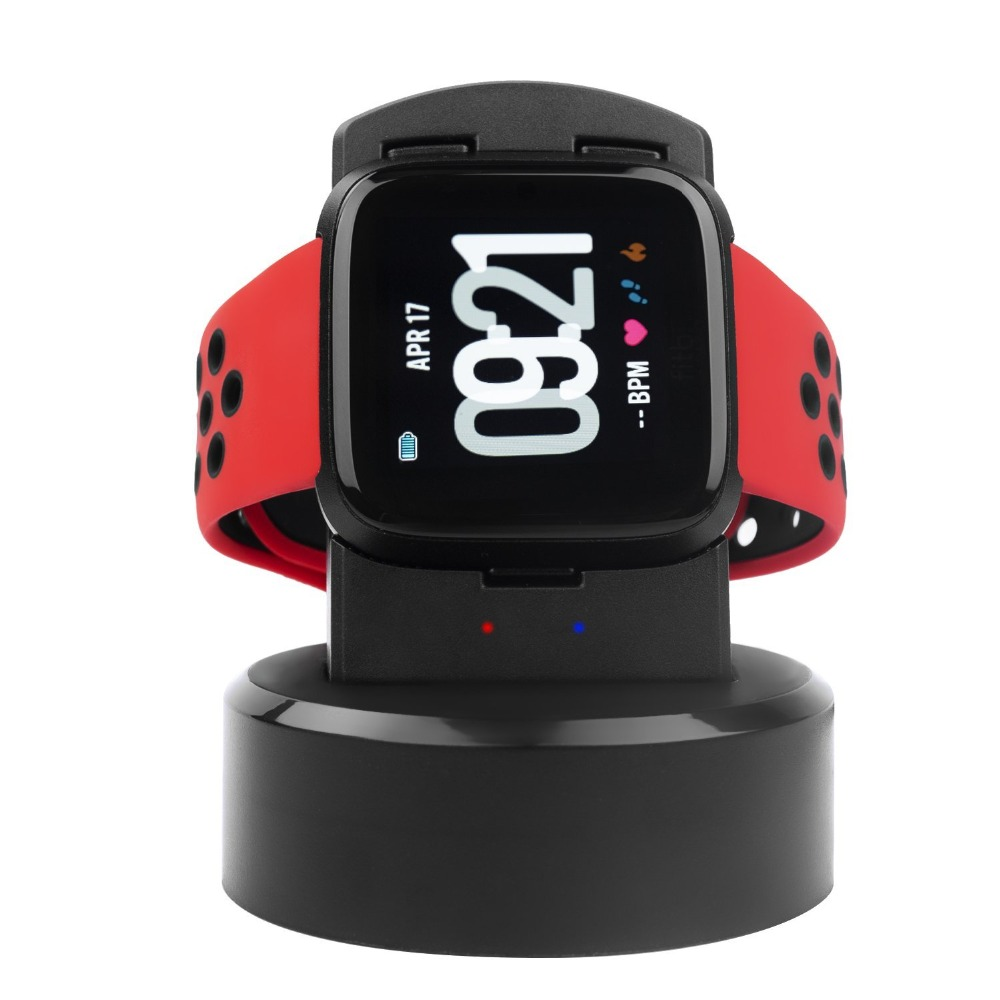 CRESTED Charger Dock For Fitbit Versa Watch Charging Station Stand Cradle Holder Fitbit Versa Watch Accessories LED Indicator smart watch usb charging box cable for fitbit versa