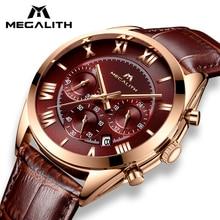 MEGALITH модные кожаные часы для мужчин спортивные кварцевые часы водостойкие Дата для мужчин s часы лучший бренд роскошные часы Relogio Masculino