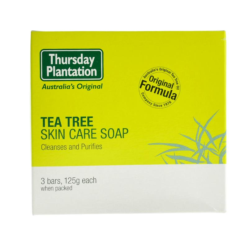 Thursday Plantation Natural Tea Tree Oil Face Body Soap 125g *3PCS Remove Build Up Of Oil Dirt Cleanses Purify All Skin Types