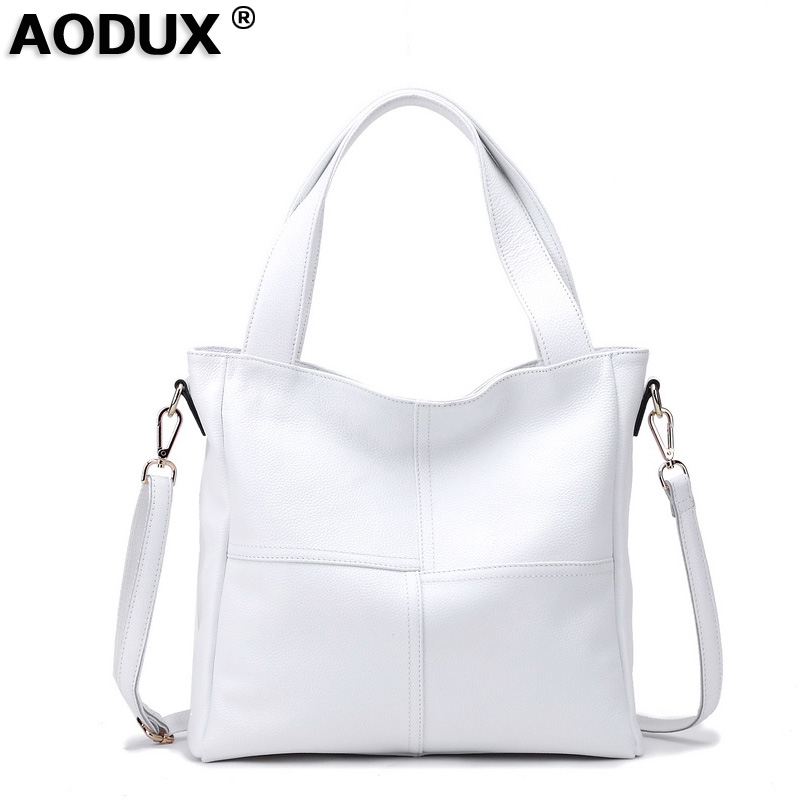 100 Genuine Leather Women s Shoulder Bags Ladies Shopping Handbag Female Long Handle Messenger Pure White