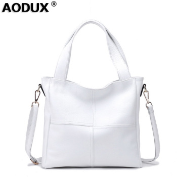 100% Genuine Leather Women's Shoulder Bags Ladies Shopping Handbag Female Long Handle Messenger Pure White Cowhide Purse Satchel