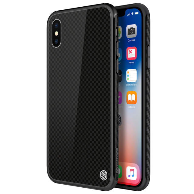 detailed look fe2a7 a8982 US $14.98 20% OFF|Nillkin Phone case for iPhone X Tempered Plaid Case  scratch resistant soft TPU frame phone cover for iPhone X case cover  bumper-in ...