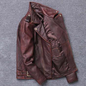 2019 Vintage Brown Men American Motorcycle Leather Jacket Plus Size XXXXXL Genuine Cowhide Spring Biker\'s Coat FREE SHIPPING