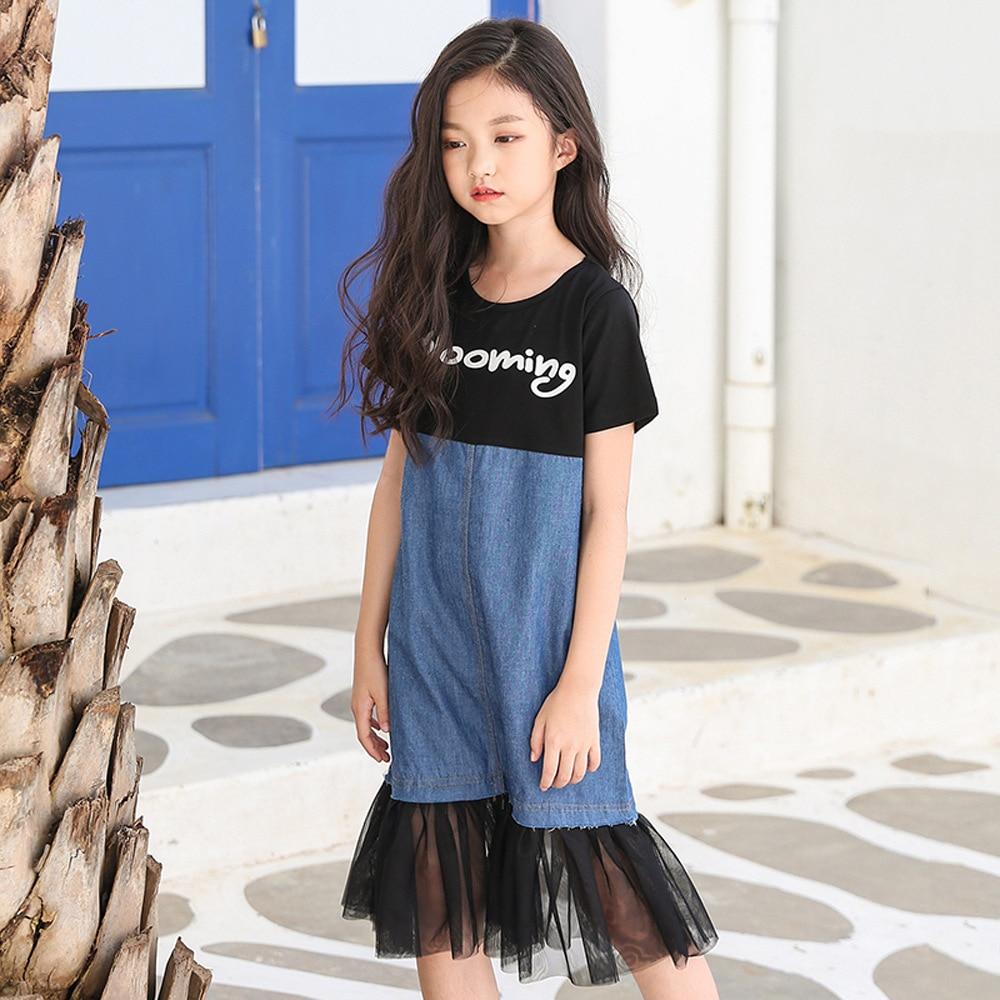 2018 New Teenage Girls Summer Dresses Denim Casual 12 14 -7992