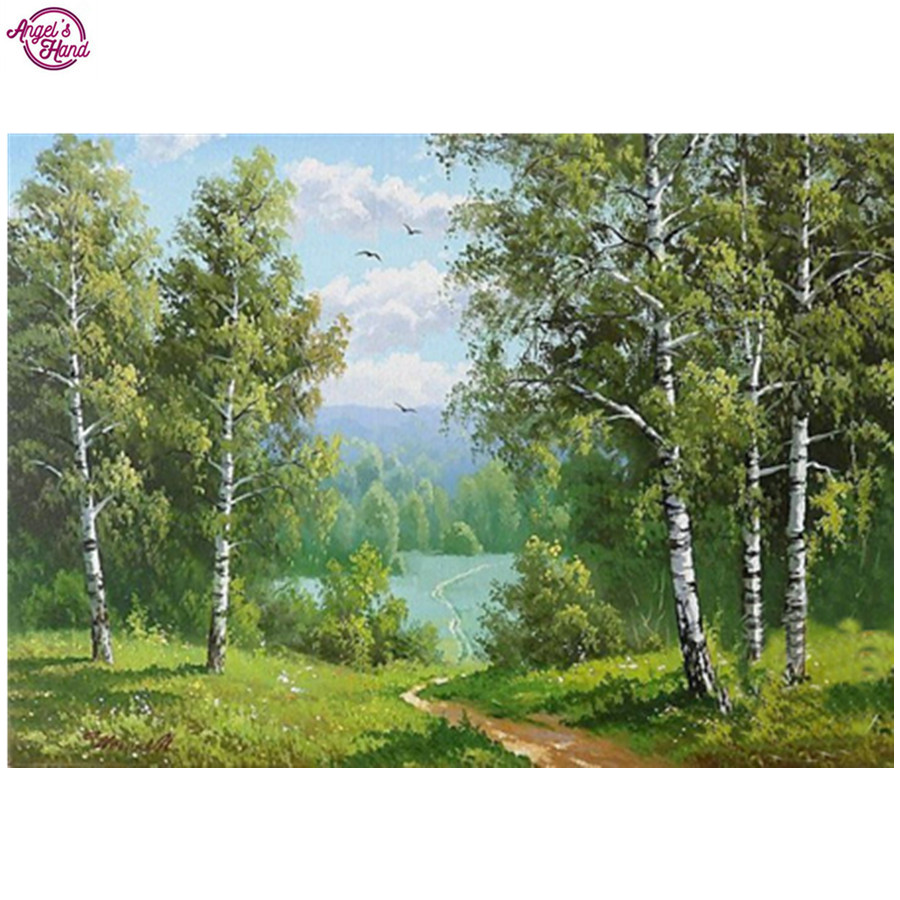 20x25cm DIY Diamond Embroidery scenery Square Diamond Painting Cross Stitch 5D round Rhinestones paste Pattern Birch forest Home ...