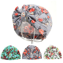 New Baby Girl Hat with Bow Cotton Kids Cap Newborn Baby Beanies Floral Print Bohemia Turban Infant Toddler Hat for Girls girls baby girl palm print swimsuit with hat