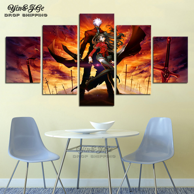 HD Prints Anime Pictures Canvas Artwork 5 Pieces Fate Stay Night Archer Rin Tohsaka Poster Painting Frames Decor Kids Room Wall
